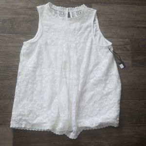 NWT Lace Tank Ivory Lined Boutique High Neck Med